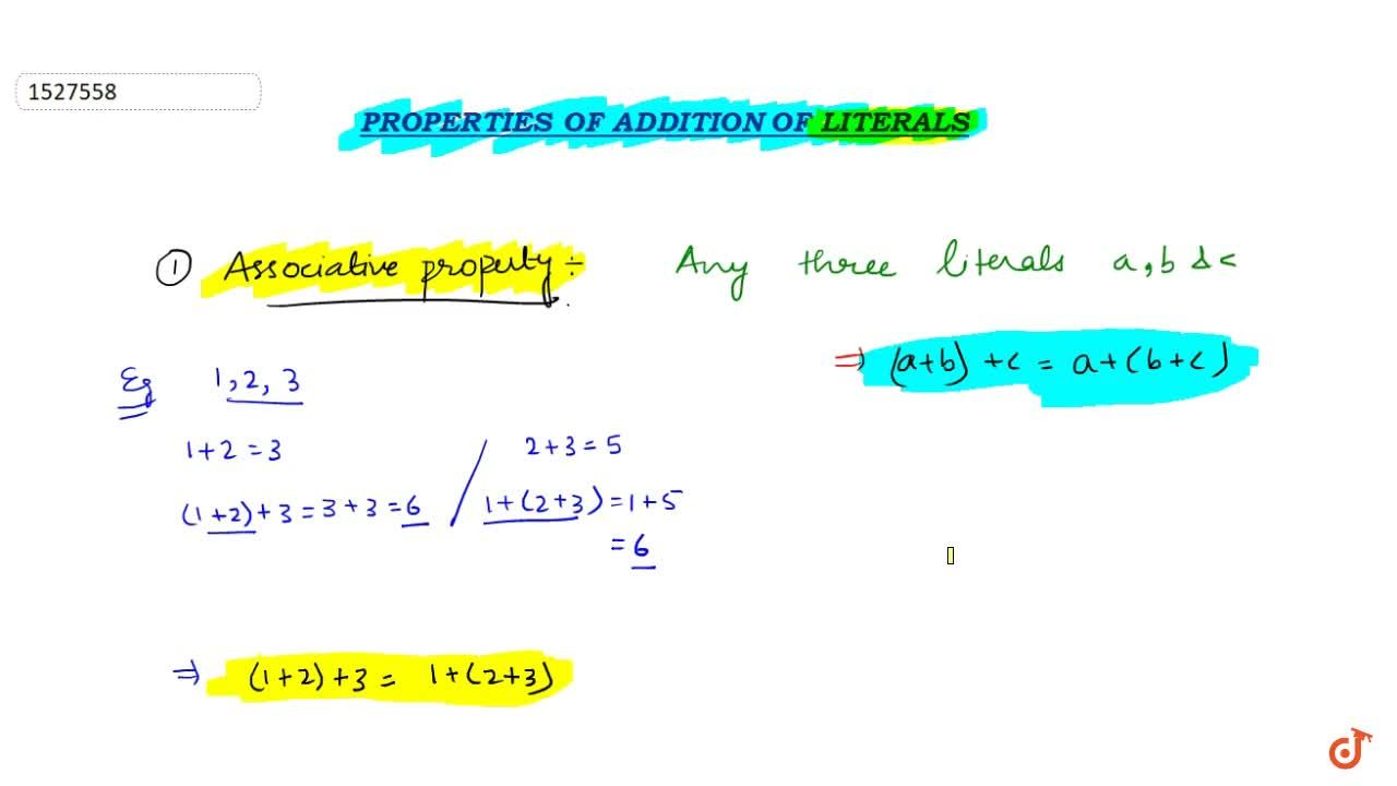Solution for Associative property and identity property of addi