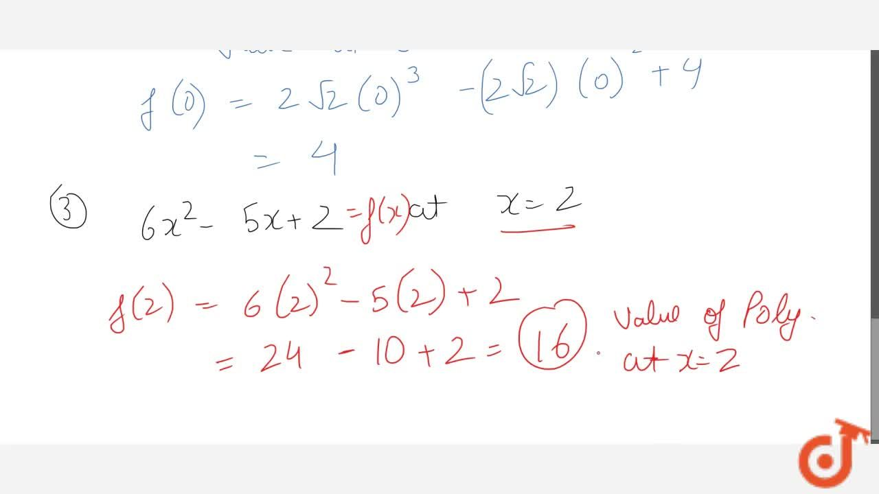 Solution for Value of a polynomial ( Definition and Examples)