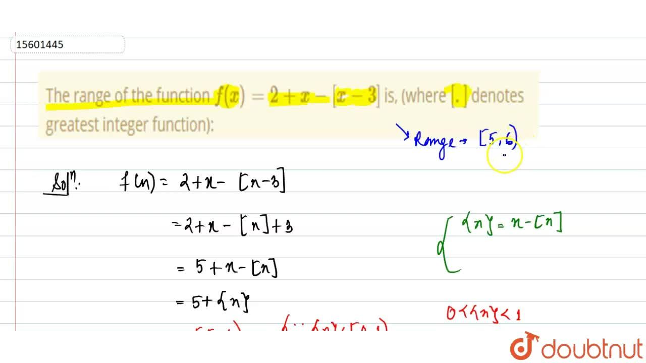 Solution for The range of the function f(x)=2+x-[x-3] is, (wh