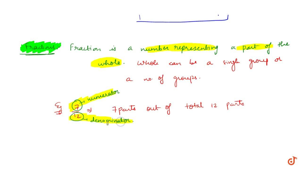 Solution for FRACTION A fraction is a number representing a par