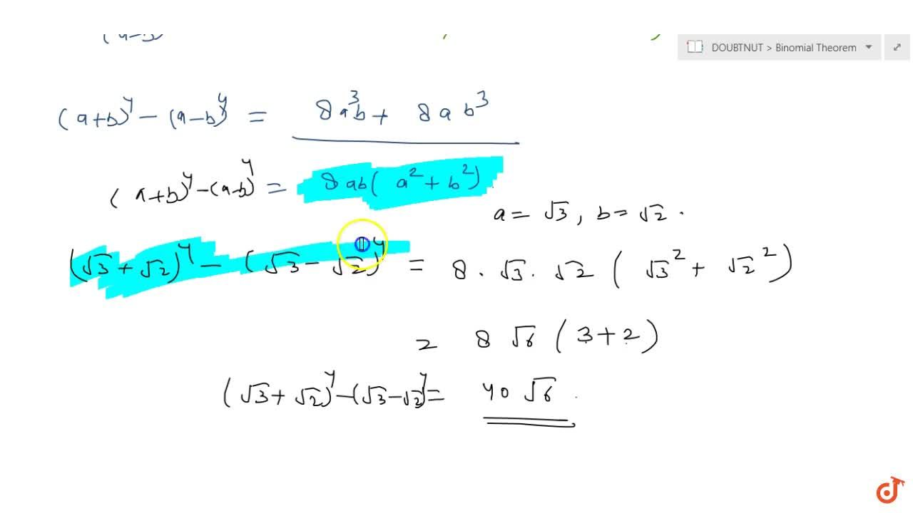 Solution for Find (a+b)^4-(a-b)^4. Hence, evaluate (sqrt(3)+