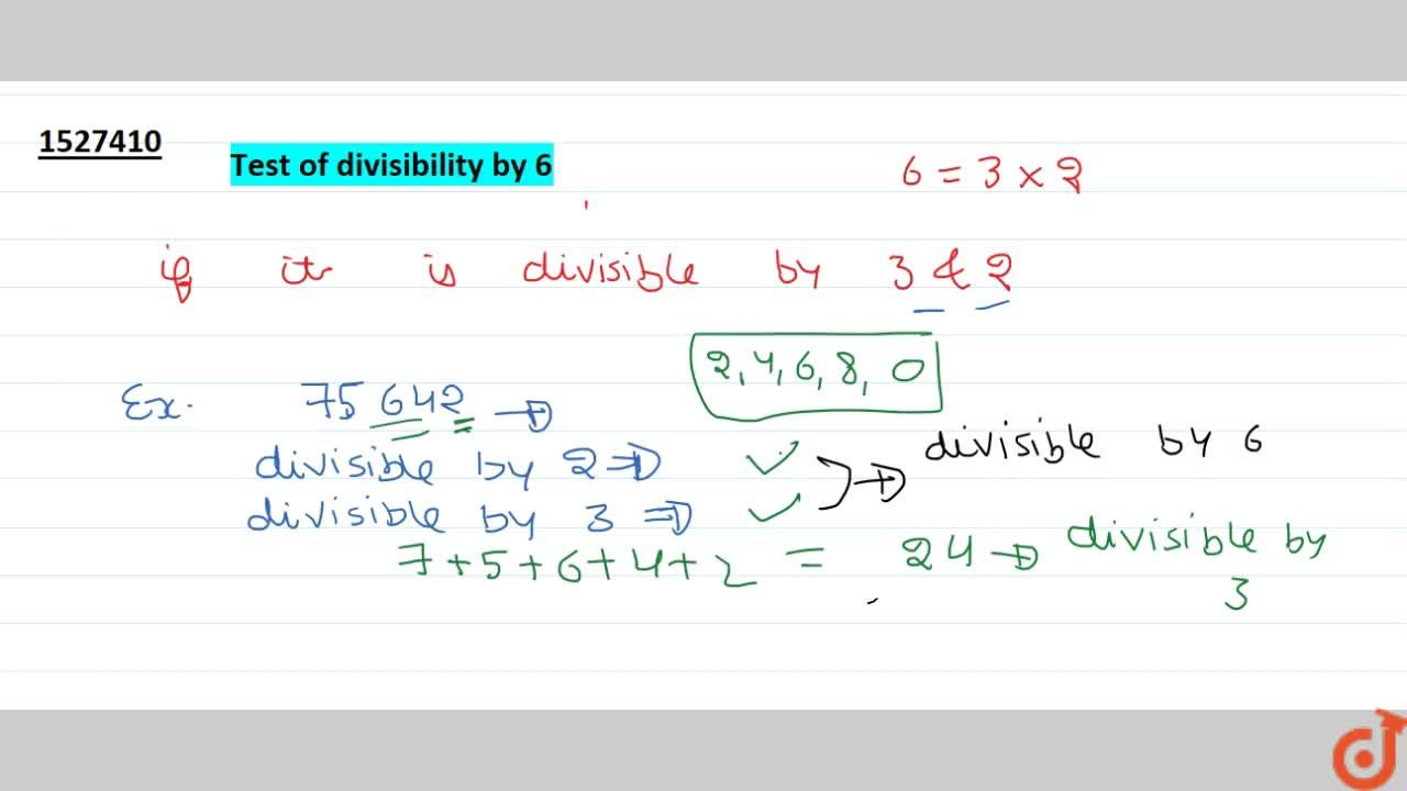 Solution for Tests of divisibility by 6