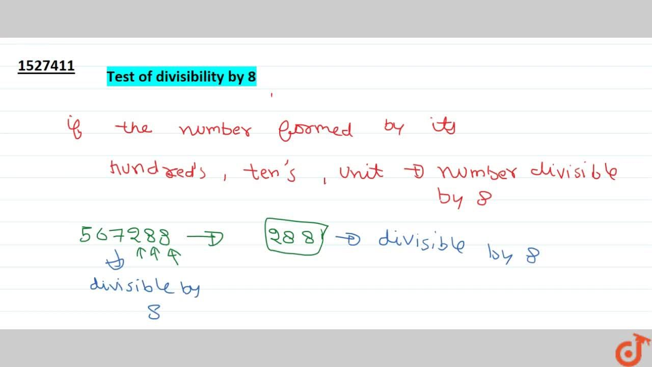 Solution for Tests of divisibility by 8
