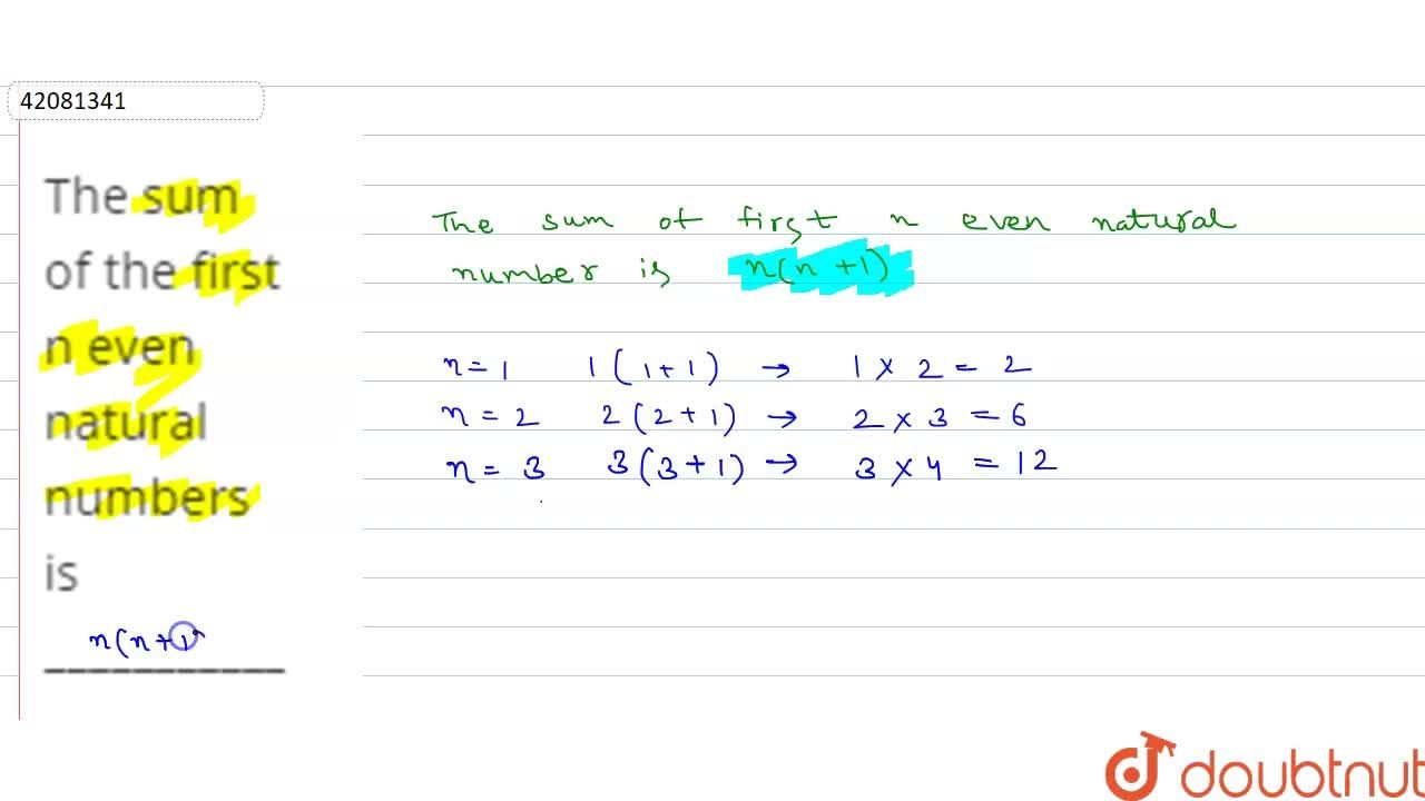 Solution for The sum of the first n even natural numbers is ___