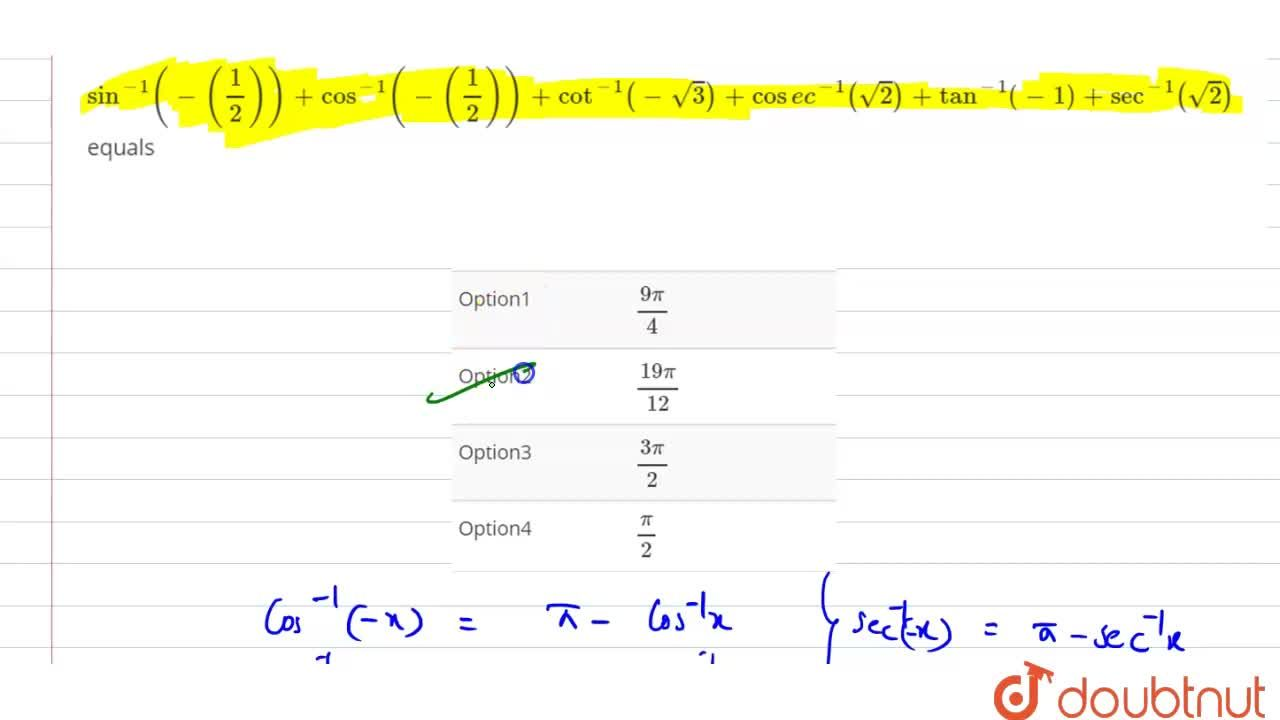 Solution for sin^(-1)(-(1,2))+cos^(-1)(-(1,2))+cot^(-1)(-sqrt3