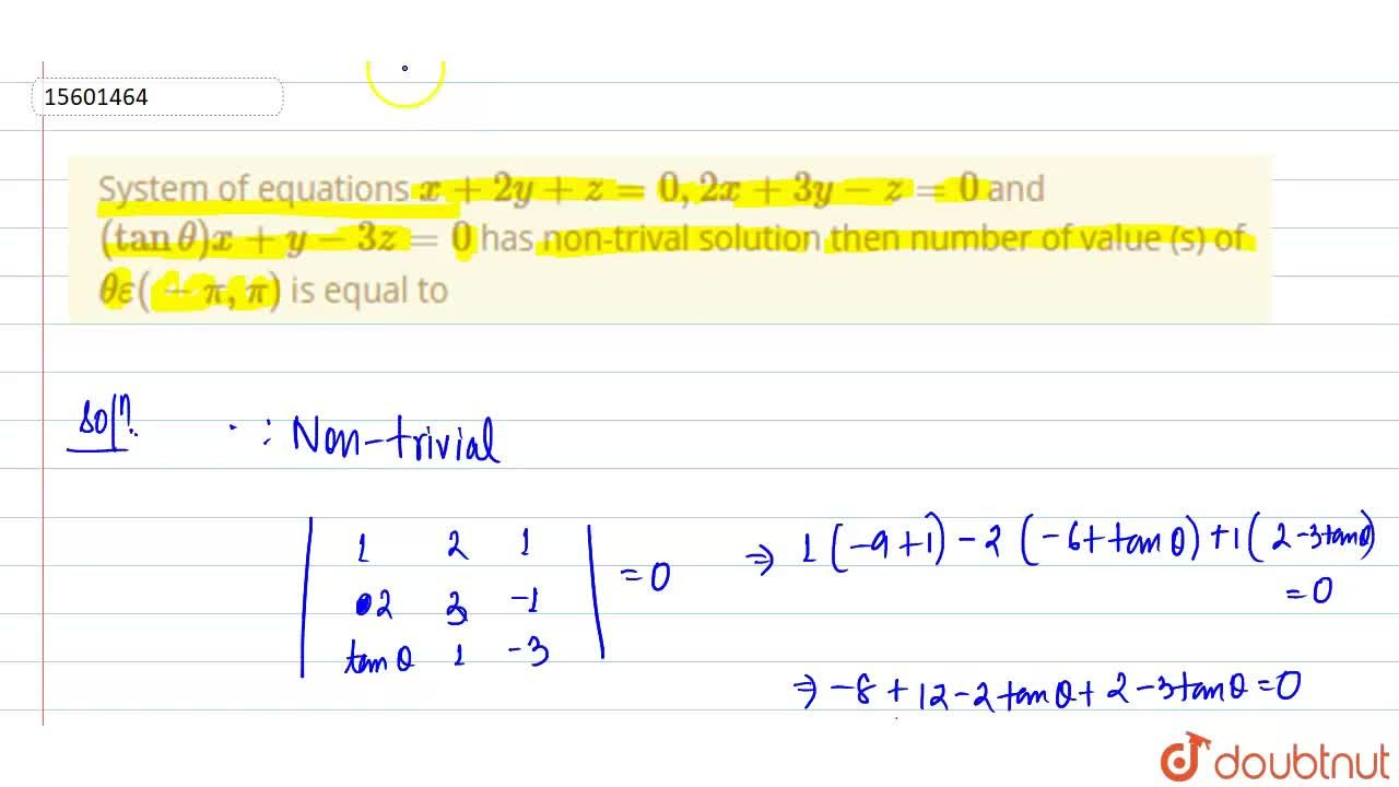 Solution for System of equations x+2y+z=0, 2x+3y-z=0 and (ta