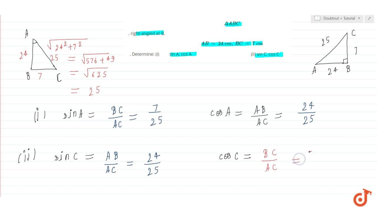 Solution for In  DeltaA B C,  right-angled at B,A B\ =\ 24\