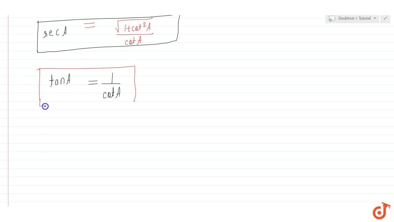 Solution for Express the trigonometric ratios sin A, sec A and