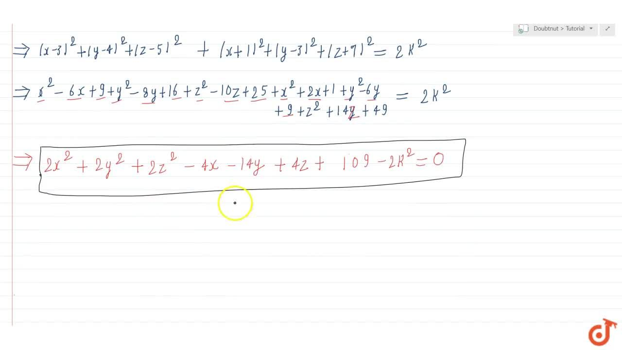 Solution for Find the equation of set of points P such that P