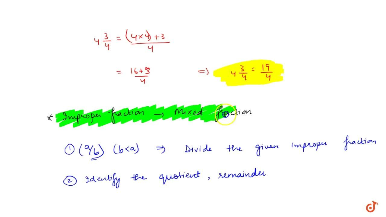 Solution for Conversion of mixed fractions into improper fracti