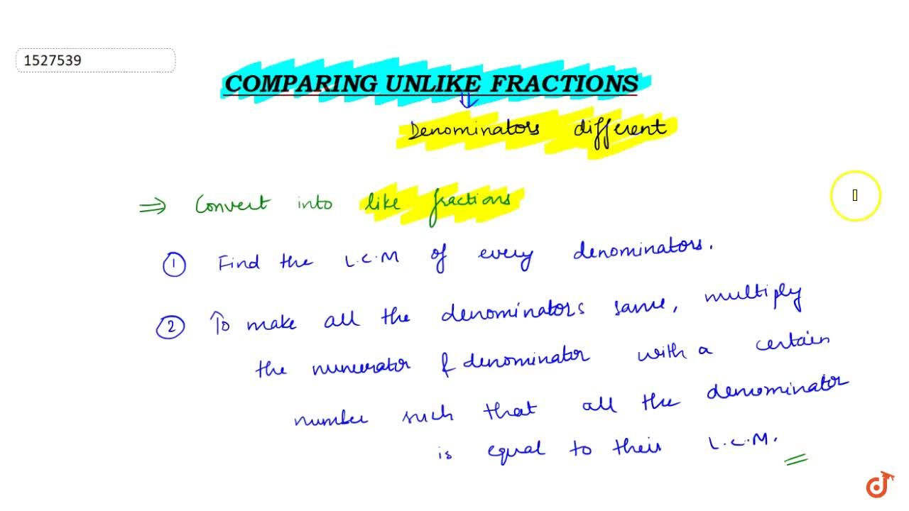 Solution for Comparing unlike fractions