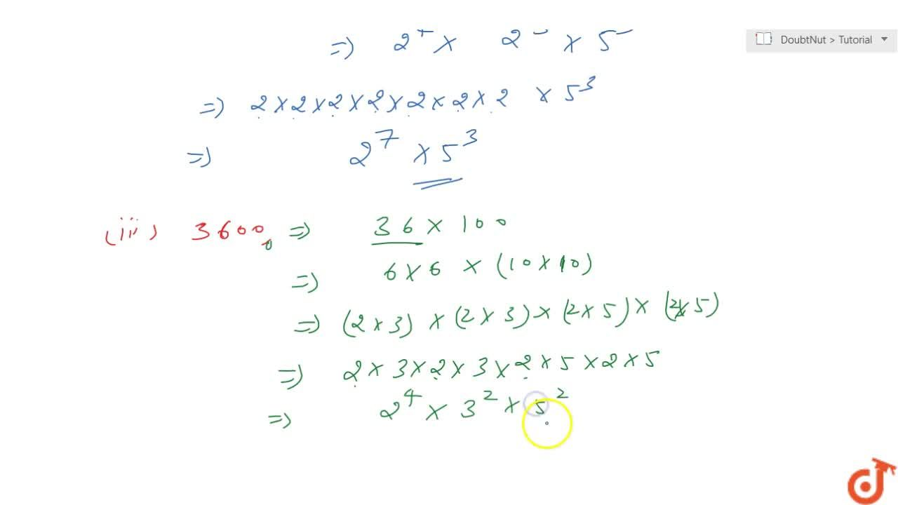 Solution for Express the following numbers as product of powers