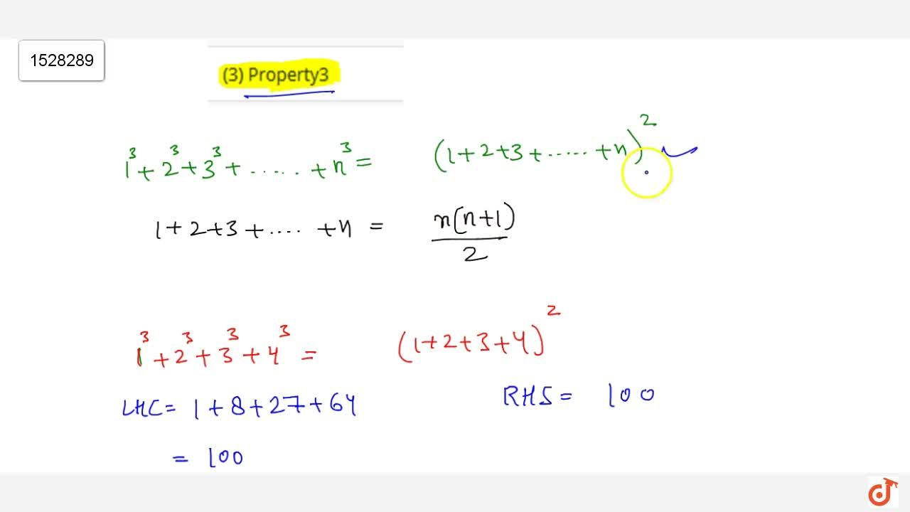 Solution for Property 3 The sum of the cubes of first n natural