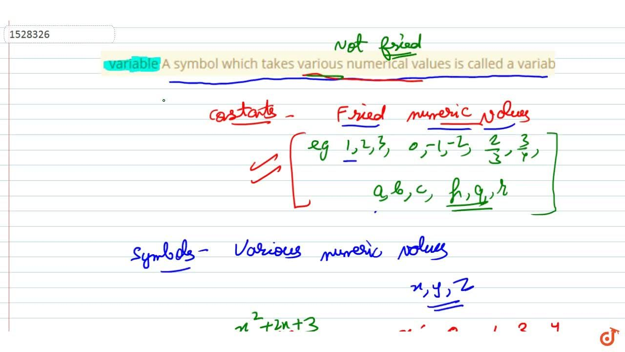 Solution for variable A symbol which takes various numerical va