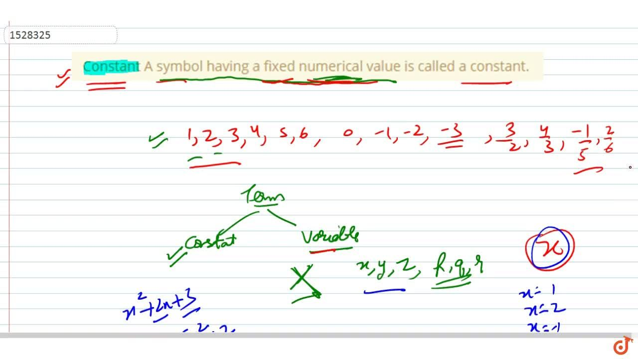 Solution for Constant A symbol having a fixed numerical value i