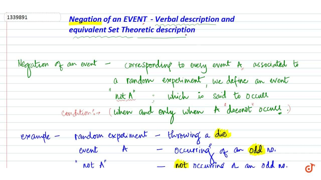 negation of an event verbal description and equivalent set theoretic notation