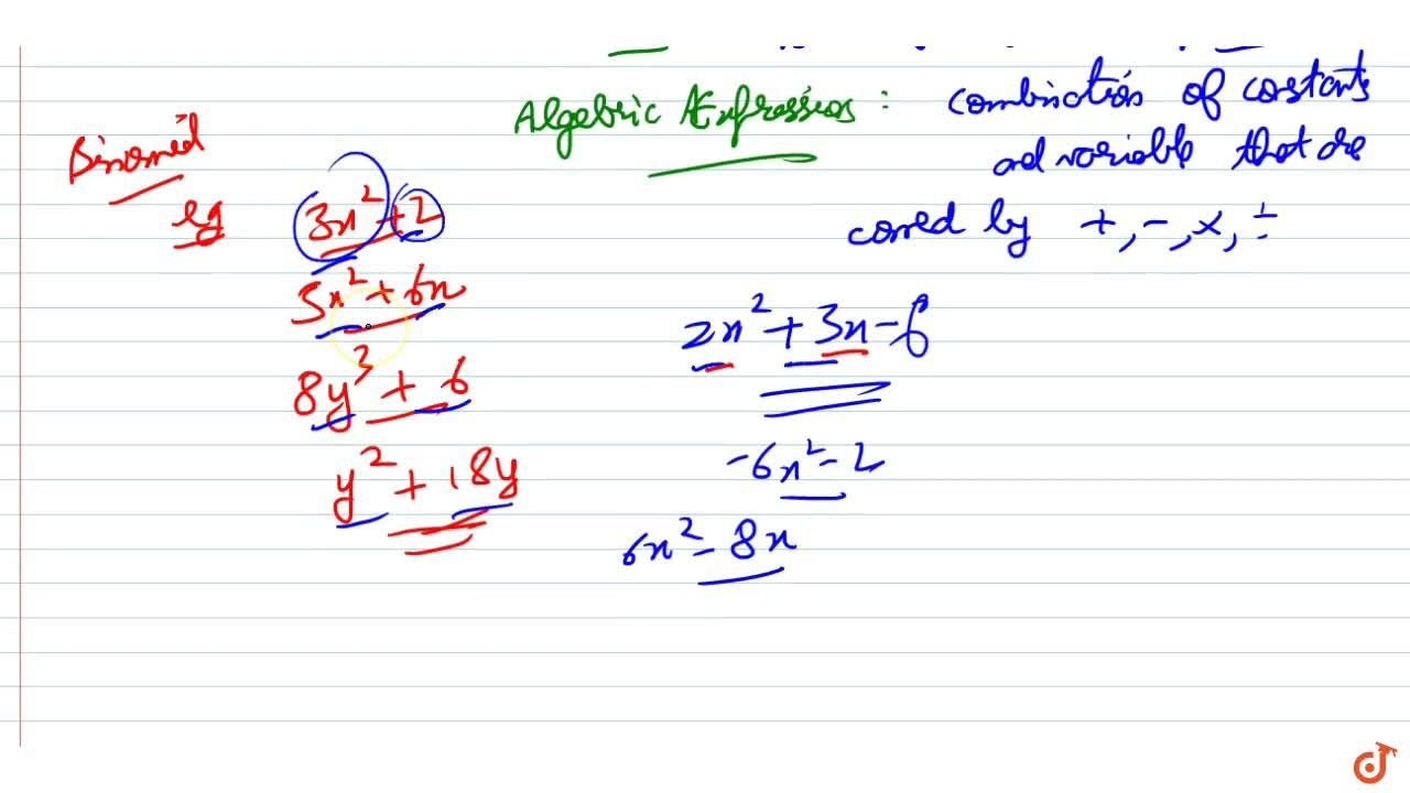 Binomial An algebraic expression containing two terms is called a binomial.
