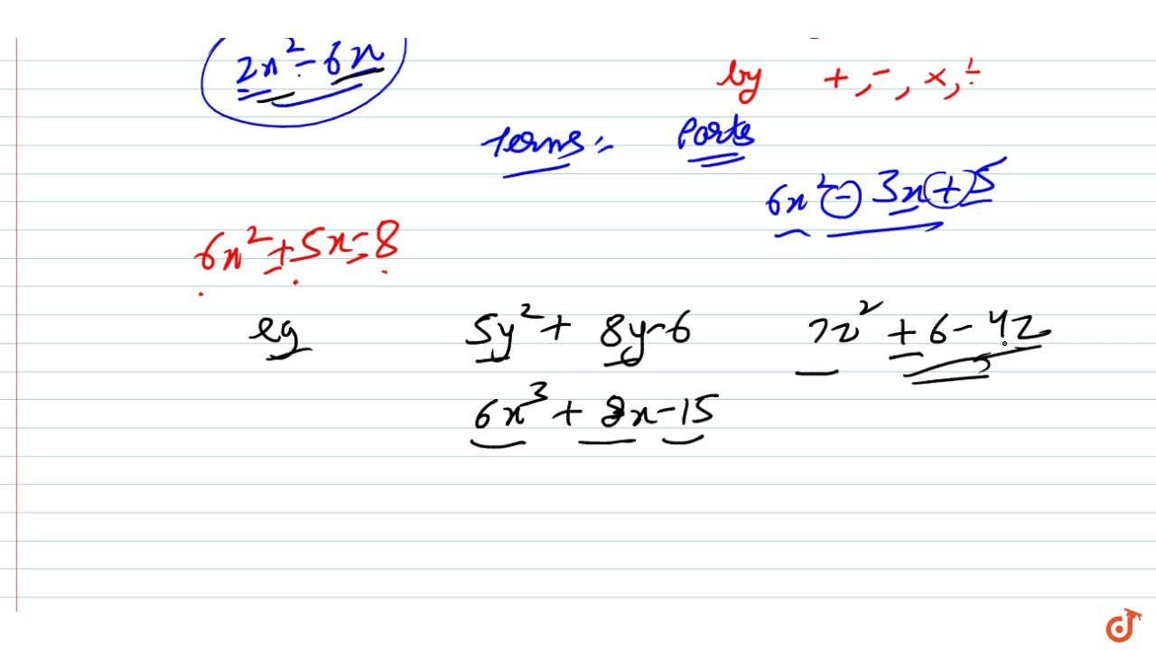 Trinomial An algebraic expression containing three terms is called a trinomial.