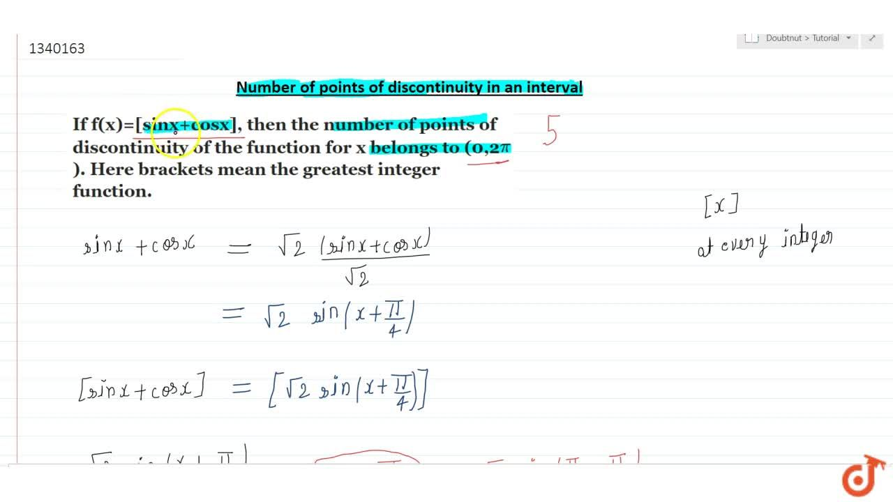 Number of point of discontinity point in interval