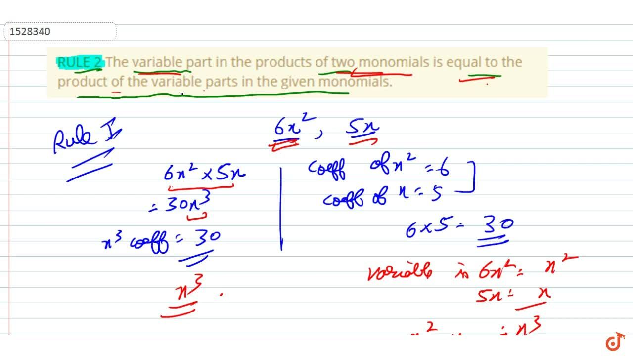 Solution for RULE 2 The variable part in the products of two mo