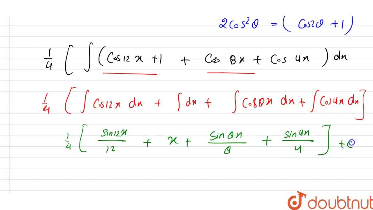 """Solution for समाकलन ज्ञात कीजिए। <br> """" cos 2x cos 4x cos 6x """""""