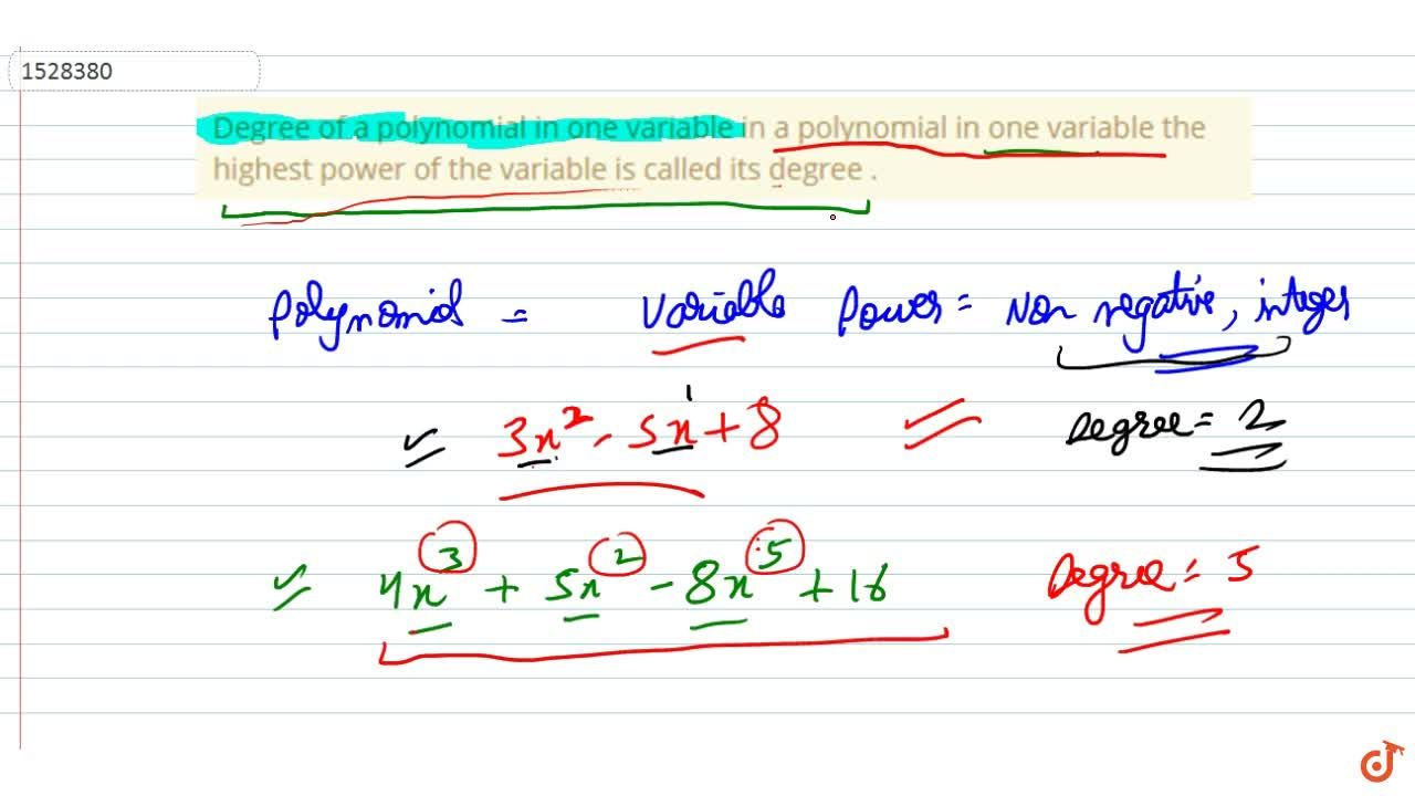 Solution for Degree of a polynomial in one variable in a polyno