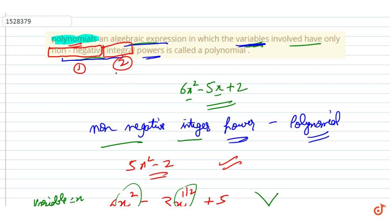 Solution for polynomials an algebraic expression in which the v