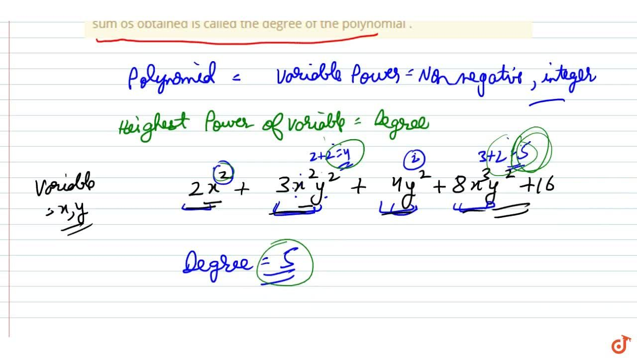 Solution for Degree of a polynomial in two variable in a polyno