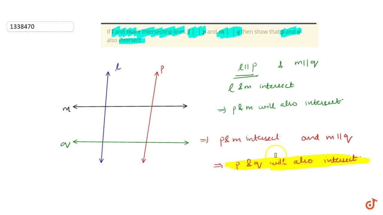 Solution for If l and mare intersecting lines, l  p and