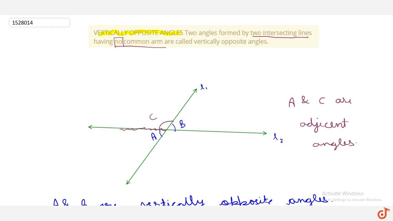 VERTICALLY OPPOSITE ANGLES Two angles formed by two intersecting lines having no common arm are called vertically opposite angles.