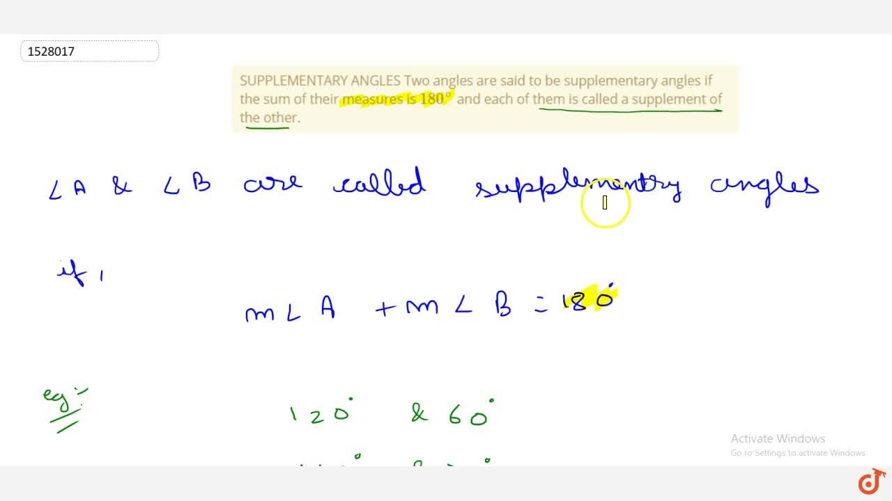 Solution for SUPPLEMENTARY ANGLES Two angles are said to be sup