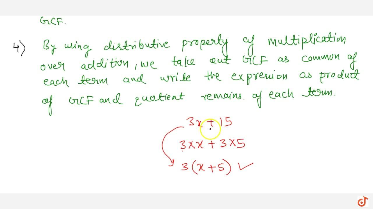 Solution for Factorization of algebraic expressions when a comm