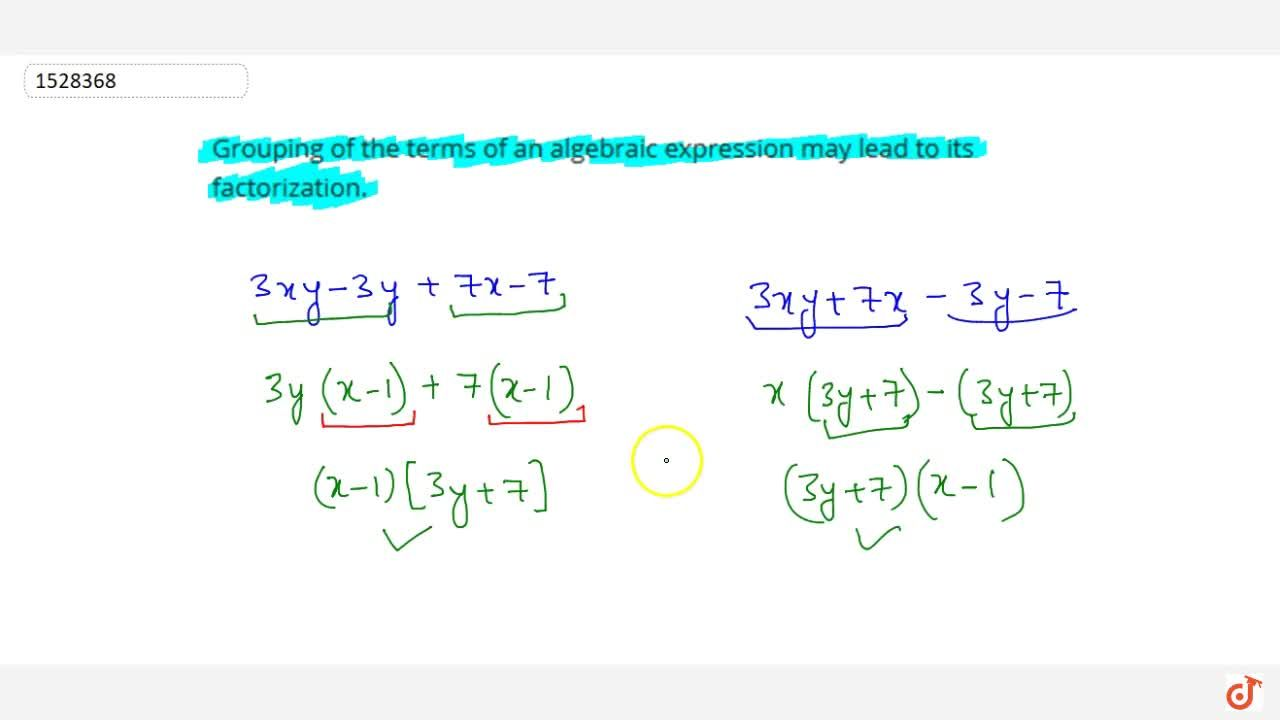 Solution for Grouping of the terms of an algebraic expression m
