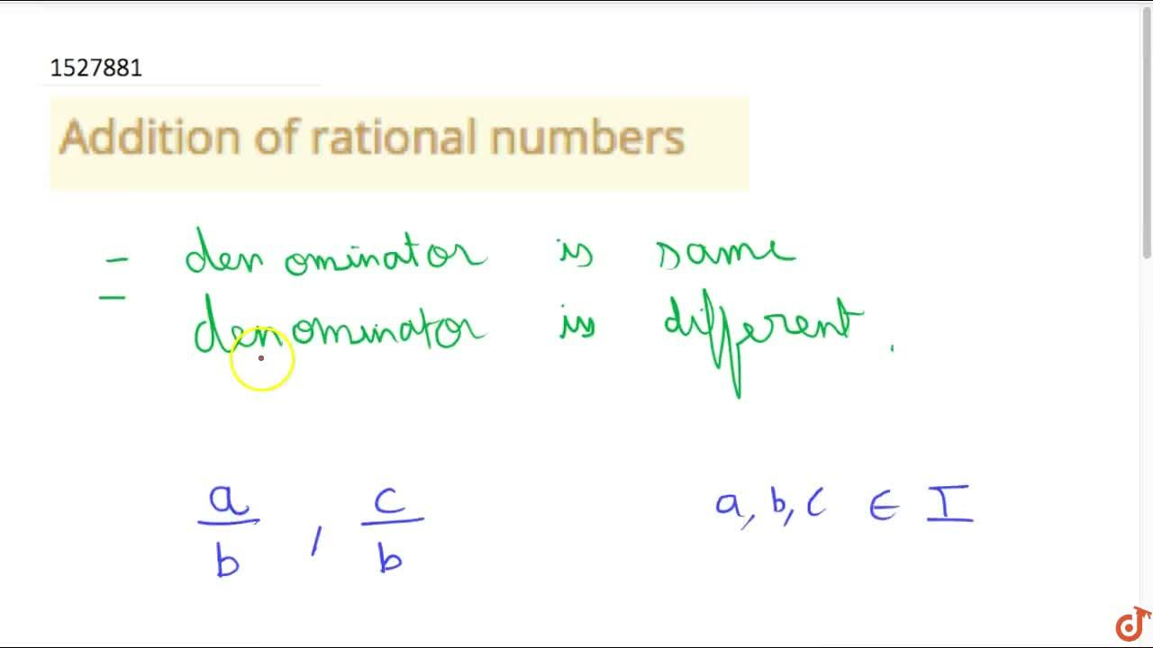 Solution for Addition of rational numbers