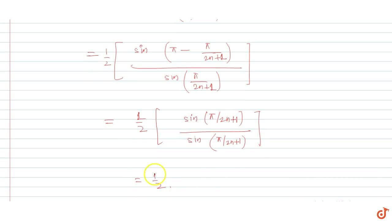 Value of  cos(pi,(2n+1))+cos((3pi),(2n+1))+cos((5pi),(2n+1))+... upto n terms equals