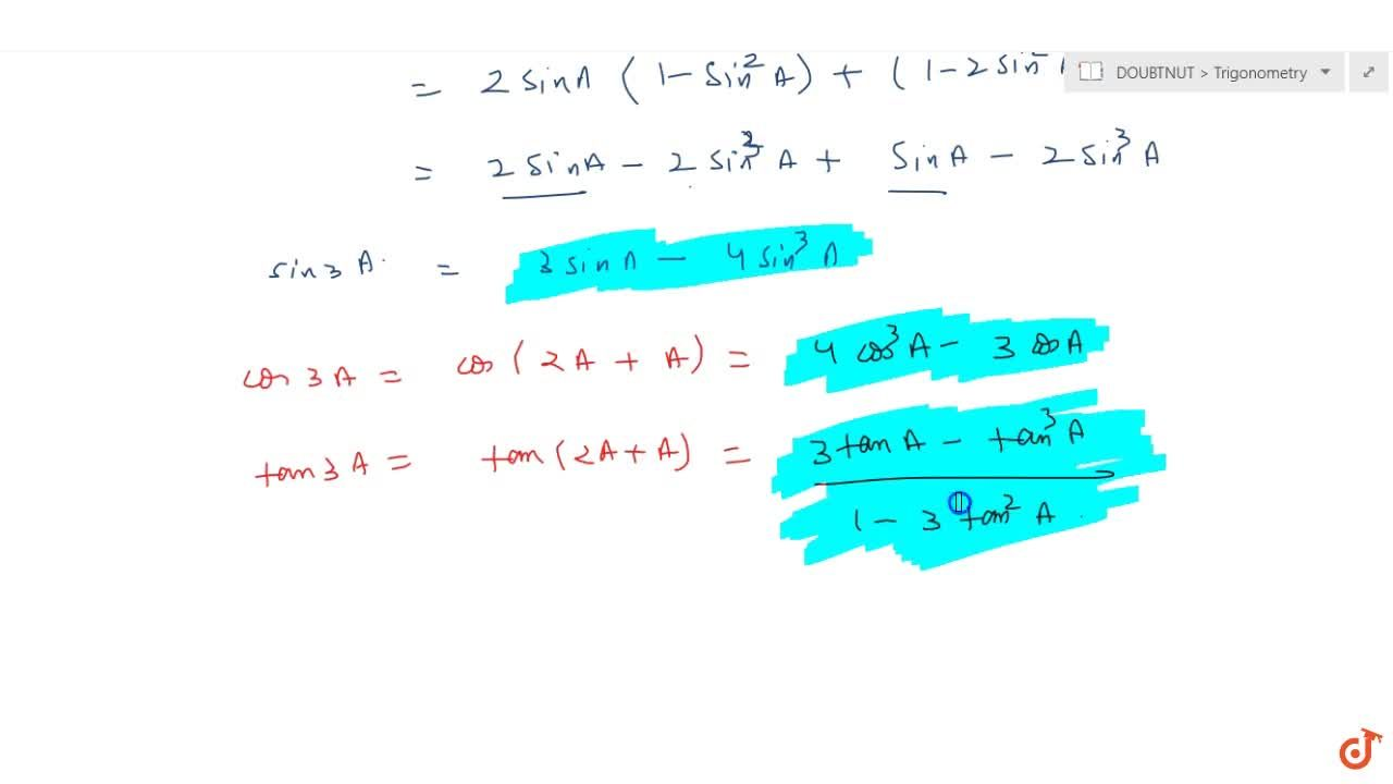 How to calculate the Trignometric ratios of multiple angles and sub-multiple angles ?