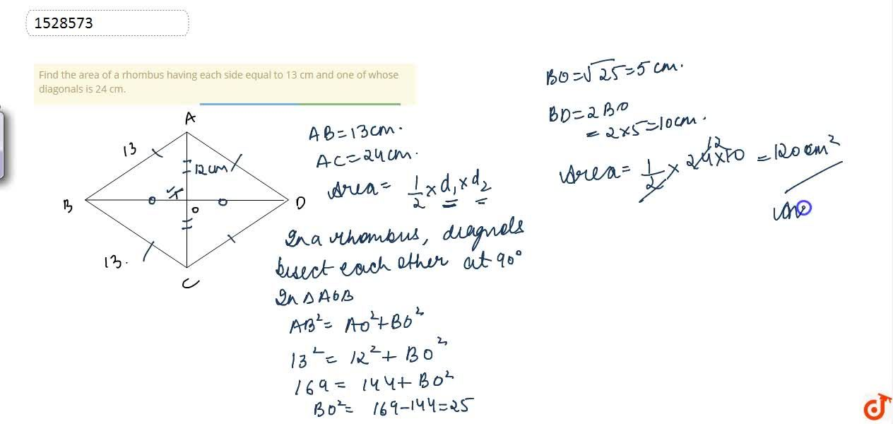 Find the area of a rhombus having each side equal to 13 cm and one of whose diagonals is 24 cm.