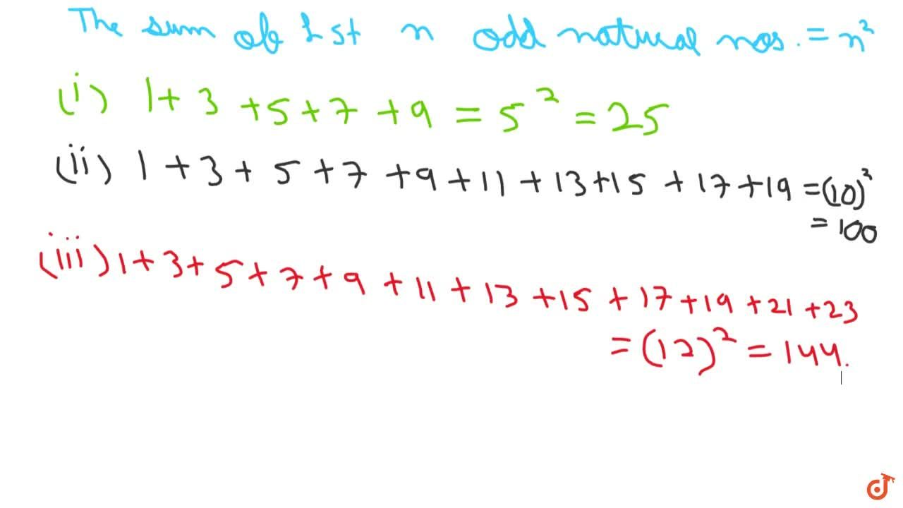 Solution for  Without adding, find the sum:   i) 1+3+5+7+9\