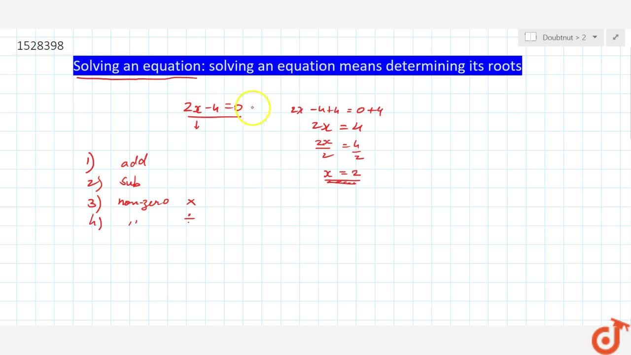 Solution for Solving an equation: solving an equation means det