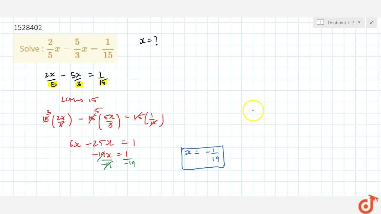 Solution for Solve : 2,5x -5,3x =1,15