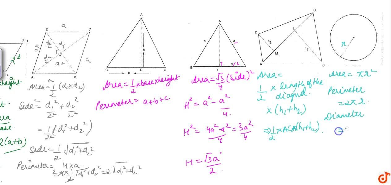 Solution for Area and perimeters of various plane.