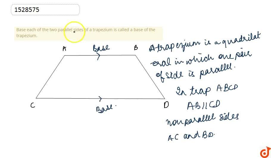 Base each of the two parallel sides of a trapezium is called a base of the trapezium.