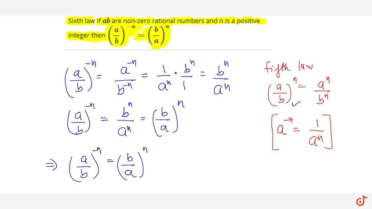Sixth law If a b are non-zero rational numbers and n is a positive integer then (a,b)^-n = (b,a)^n