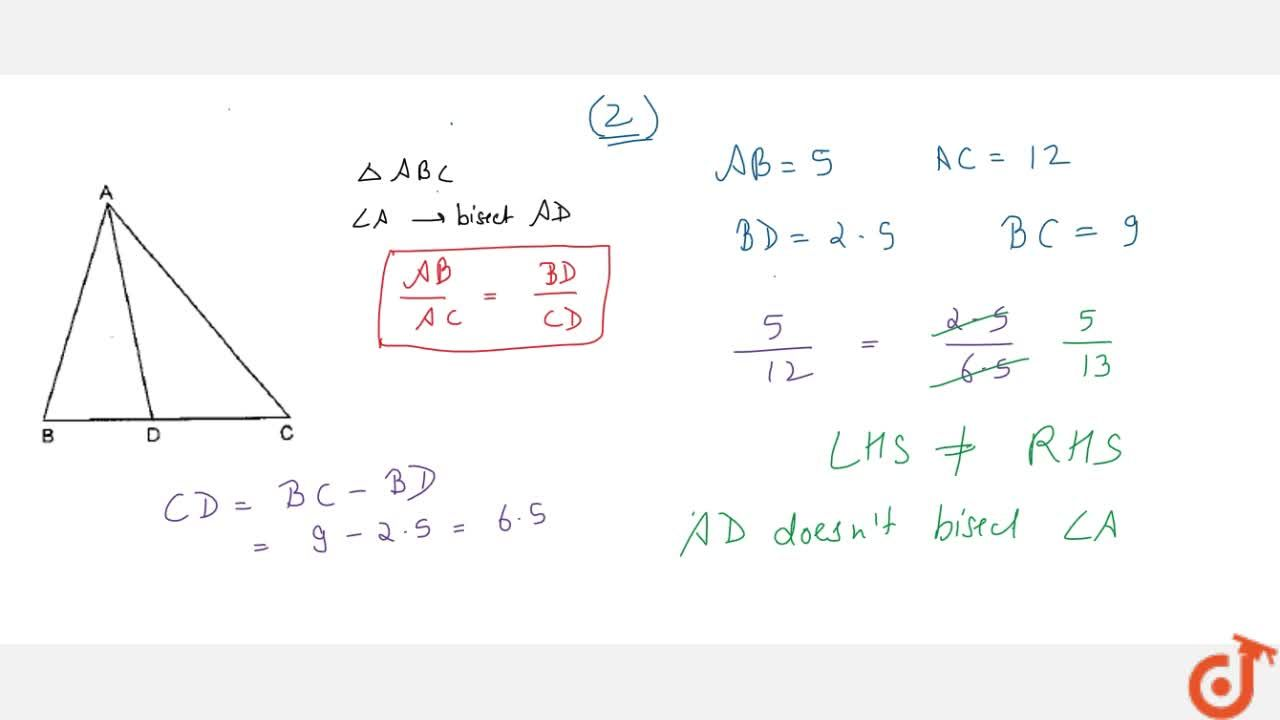 Solution for In Fig.   4.60, check whether A D is the   bis
