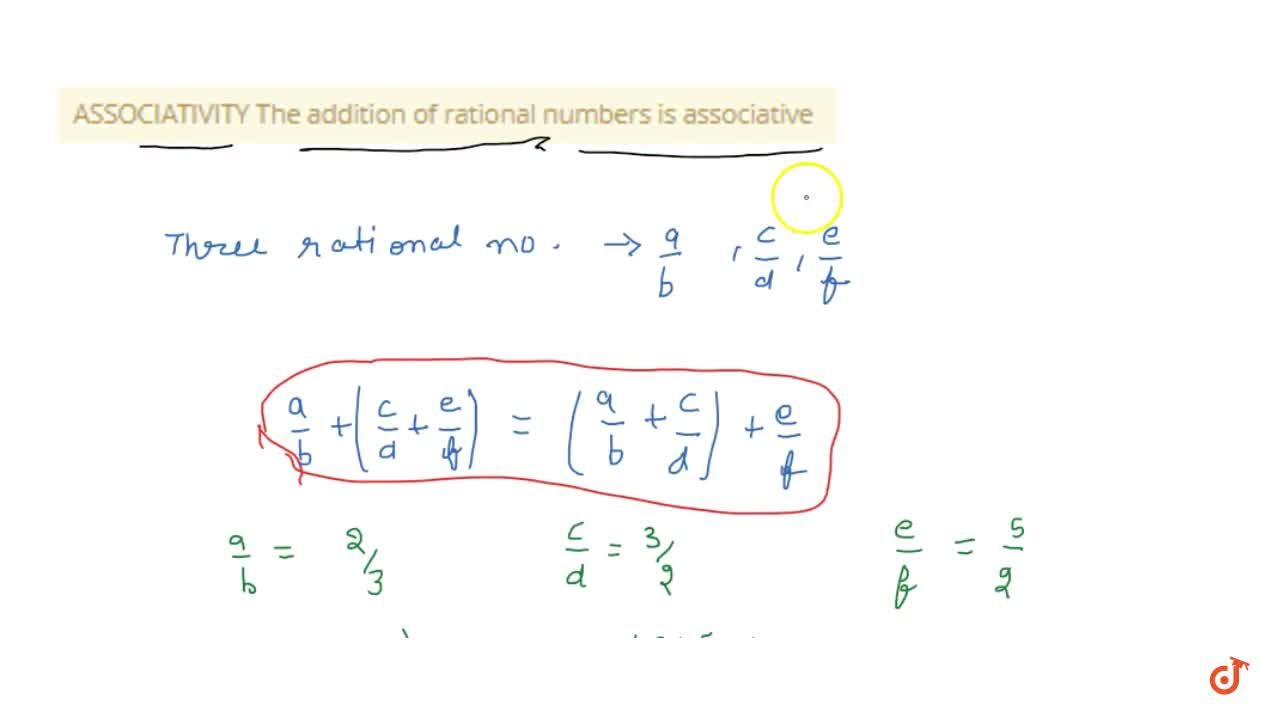 ASSOCIATIVITY The addition of rational numbers is associative
