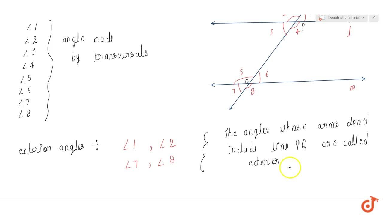 Solution for Angle made by transversals and exterior angles