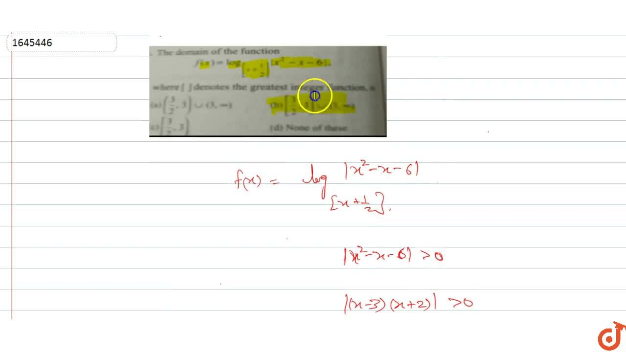 Solution for The domain of the function  f(x)=log_([x+1,2])|x^