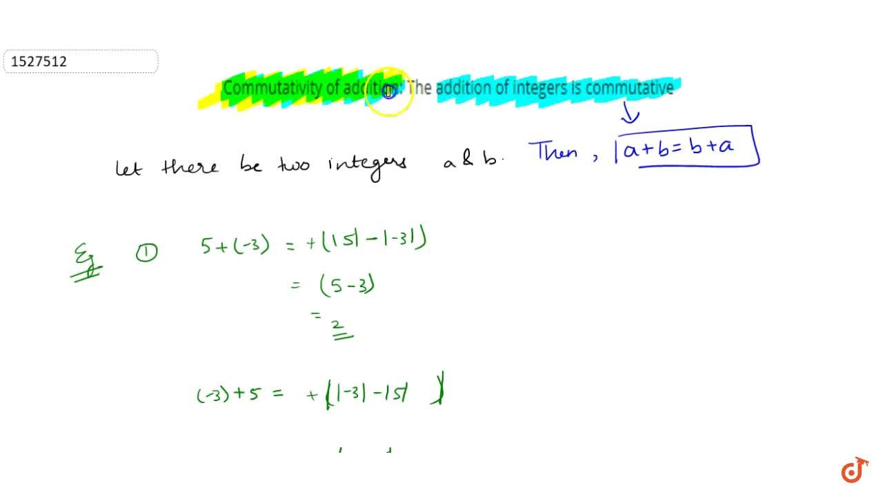 Solution for Commutativity of addition: The addition of integer