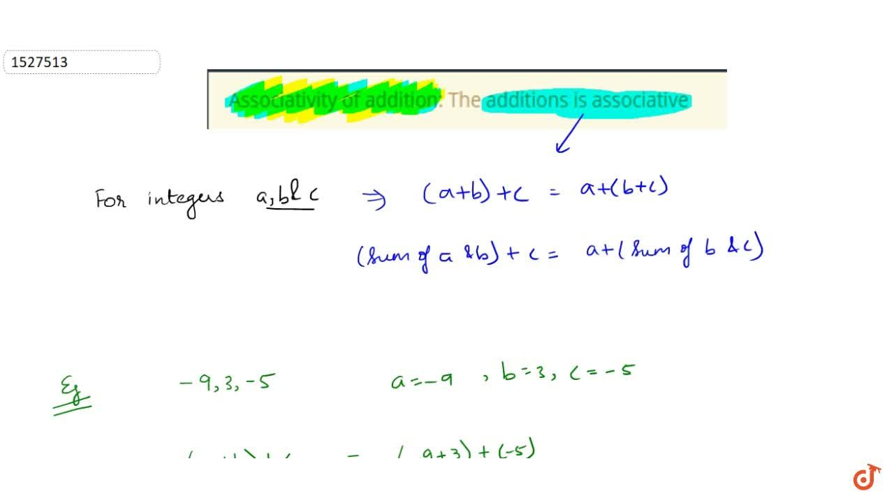 Solution for Associativity of addition: The additions is associ