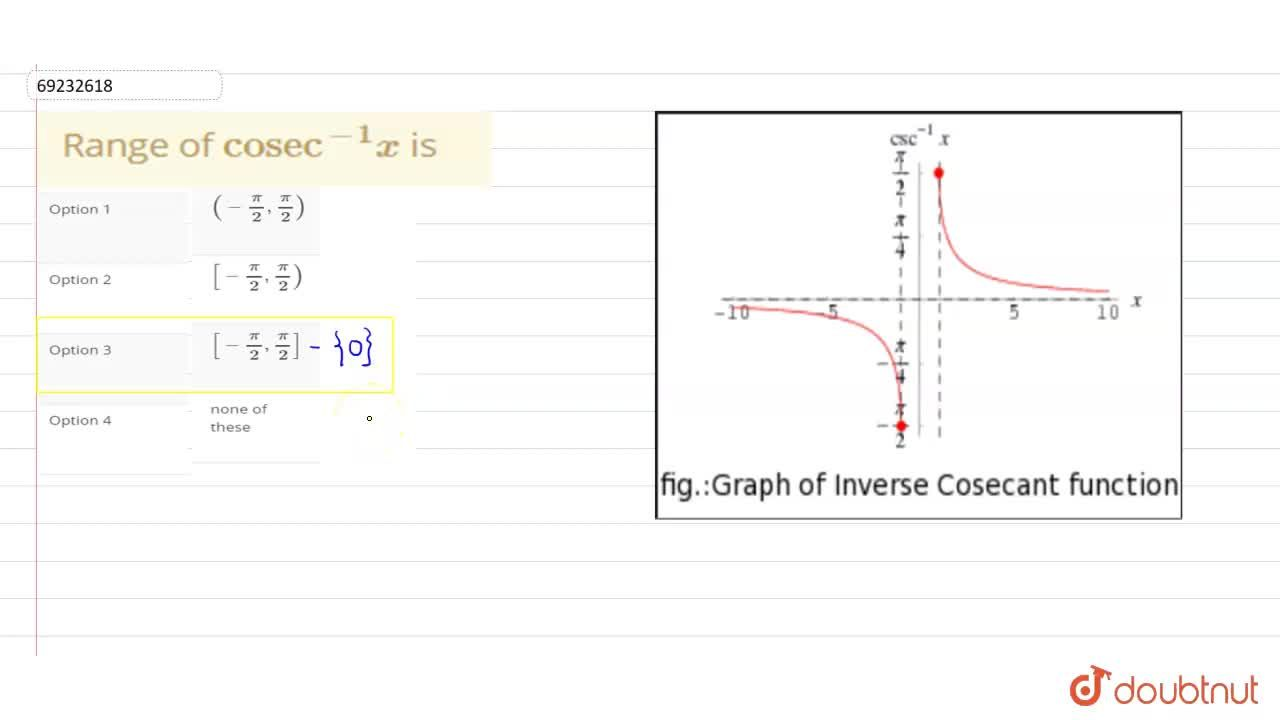 """Solution for Range of """"cosec""""^(-1)x is"""